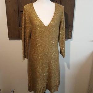 Max Studio Gold Sweater Dress